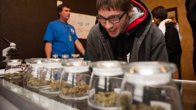 A customer eyes marijuana samples at a Denver dispensary. The makers of a newly unveiled vending machine are hoping to change how pot is sold i
