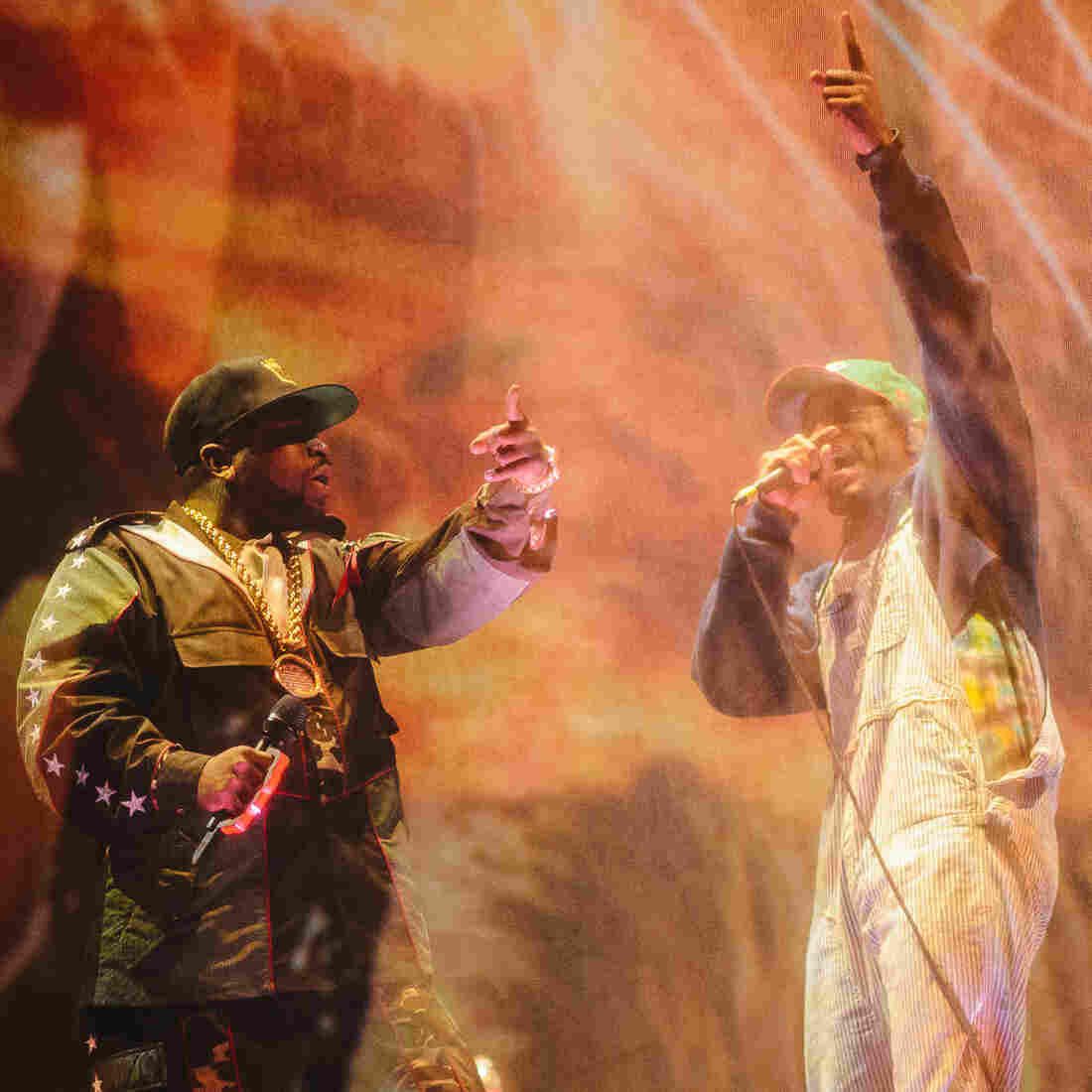 Big Boi (left) and Andre 3000 perform on stage at Coachella during the first stop on OutKast's reunion tour.