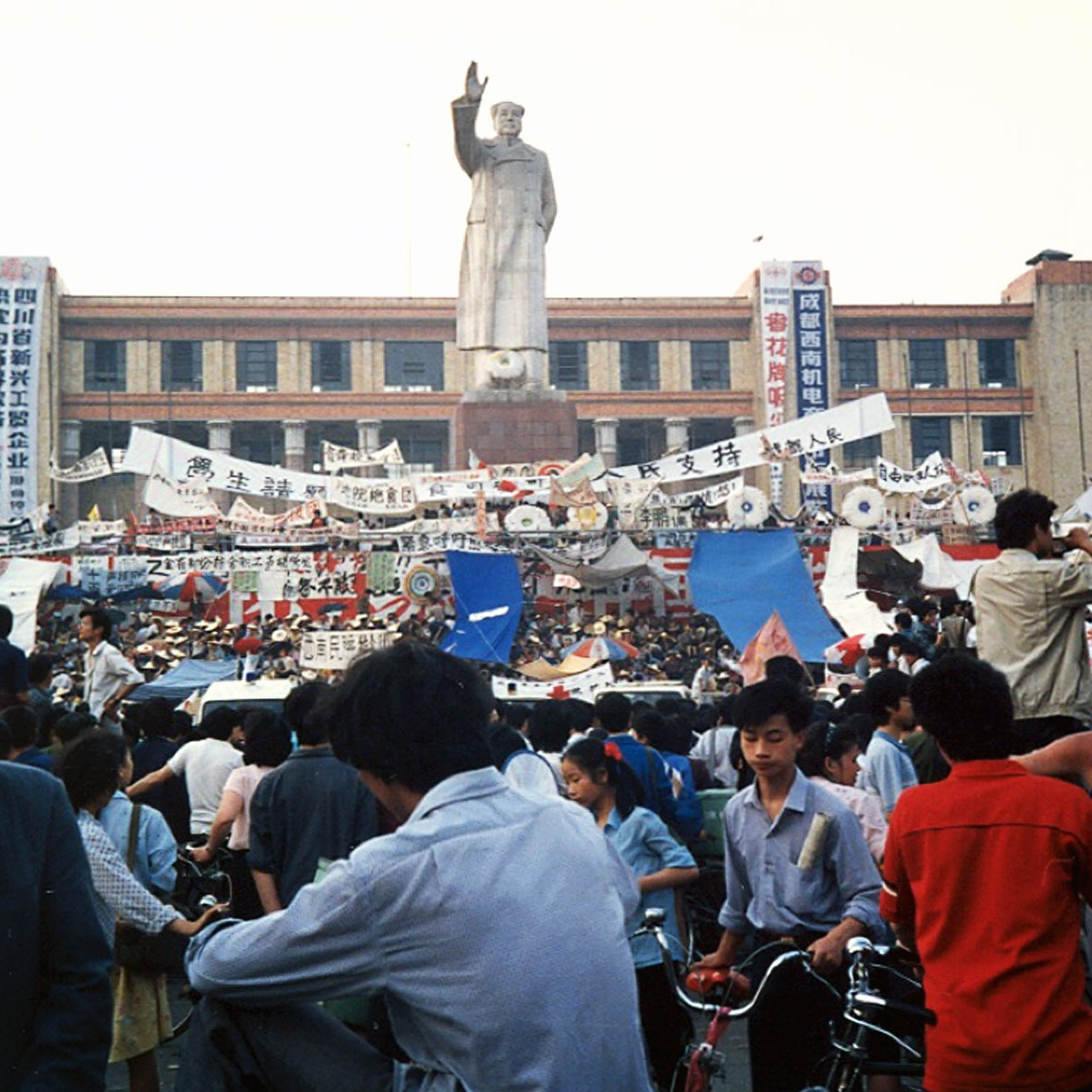 The world media captured the 1989 protests and crackdown in Beijing's Tiananmen Square. But across China, similar protests were taking place. Students in the southwest city of Chengdu began their own hunger strike in Tianfu Square several days after their Beijing counterparts. The photographer of this image -- and several below -- asked not to be identified because of current ties with China.