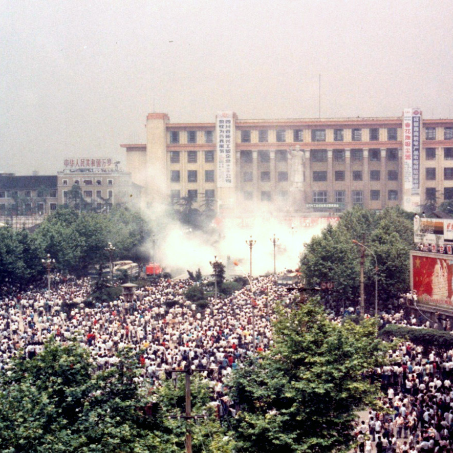 Police initially used tear gas and stun grenades against protesters to try to disperse the crowds thronging Chengdu's main square on June 4.