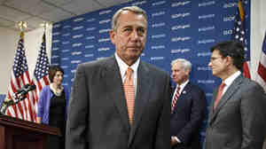 House Speaker John Boehner of Ohio, with (from left) Rep. Cathy McMorris Rodgers, R-Wash., Rep. Bradley Byrne, R-Ala., and House Majority Leader Eric Cantor of Va., at a March 25 Capitol Hill news conference.