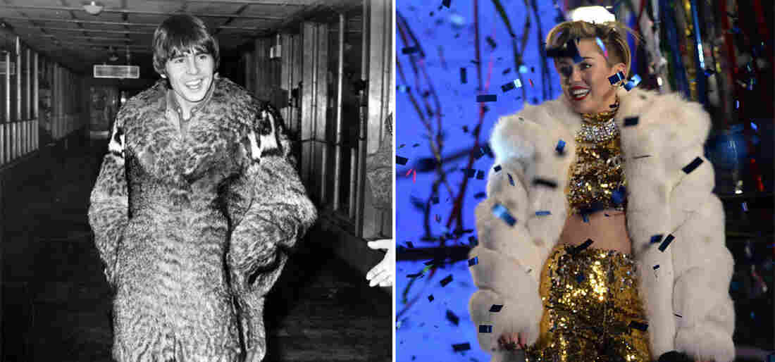 Davy Jones of the Monkees rocking some fur in 1968 (George Stroud) and Miley Cyrus, doing the same, in 2013 (Timothy A. Clary).