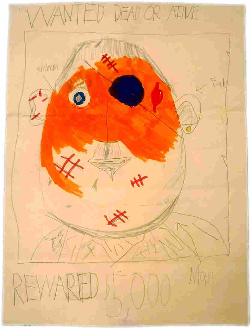 """Demi Clark's daughter Maizie, who was seated in the stands across from the first explosion on Boylston Street, drew this """"wanted"""" poster at school in the days after the attack as law enforcement searched for the bombers."""