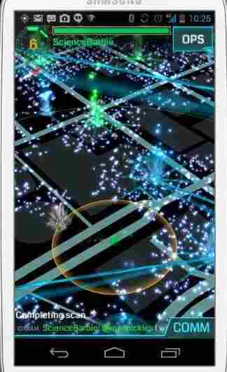 "A screen in Ingress shows ""exotic matter"" a virtual blue-green fog that appears at specific locations around the world at certain times."