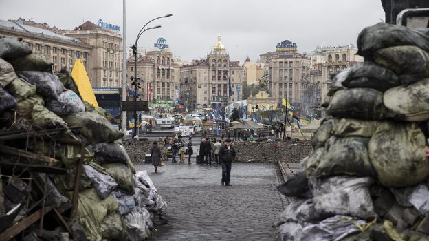"""Many Jews protested in Kiev's Independence Square and see a thread connecting ancient Egypt to modern-day Ukraine. """"We started our liberation 3,000 years ago, and we still are in the process,"""" says Rabbi Alexander Duchovny. (EPA/Landov)"""