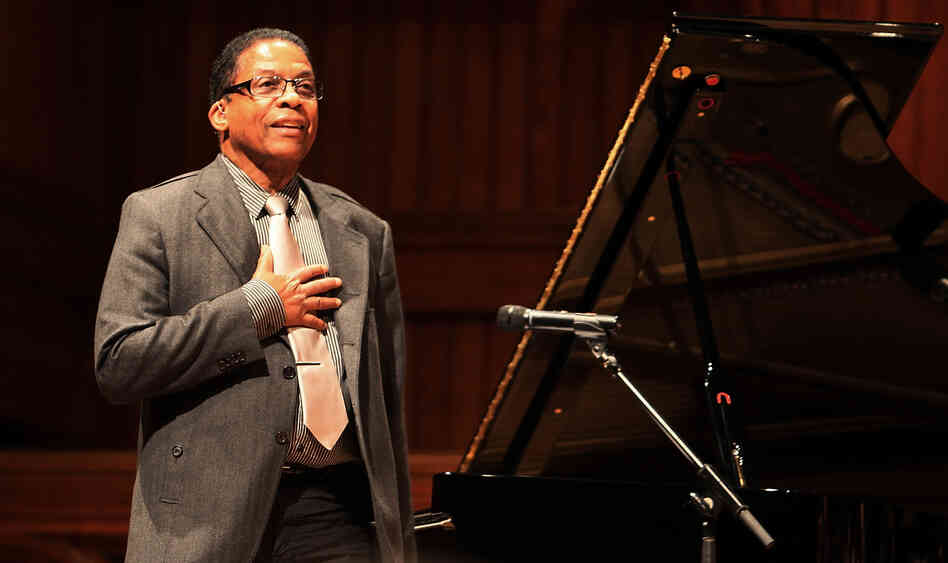 Herbie Hancock speaks at the American Academy of Arts and Sciences Induction Ceremony 2013 at Harvard University. The JJA awarded the pianist with a Lifetime Achievement Award on Tuesday.