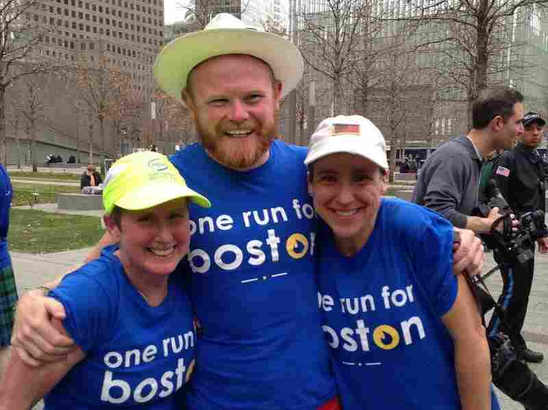 """Danny Bent and fellow runners during the """"One Run For Boston"""" relay."""