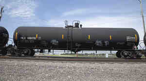 Safety advocates have been pressuring Canadian and U.S. officials to create new safety standards for tank cars and to make old DOT-111s like this one more puncture-resistant.