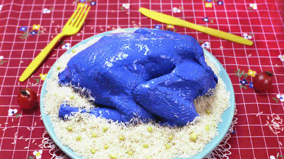 Does this blue chicken make you queasy? Scientists say there might be an evolutionary reason for that.