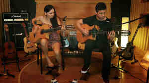 "Rodrigo y Gabriela in a scene from their new video for the song ""The Russian Messenger."""