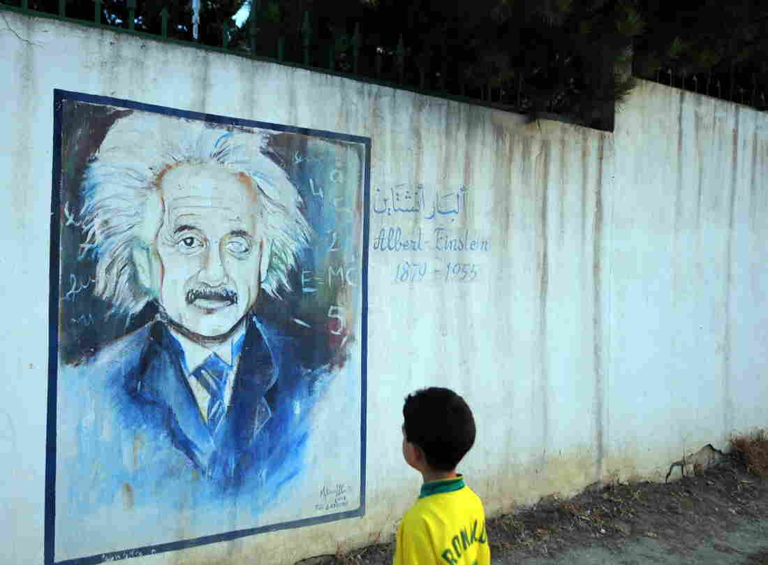 A mentor can help bridge the gulf between having an interest in a subject and actually pursuing that interest through action. Above, a boy gazes up at an image of Albert Einstein on a wall in Tunis, Tunisia.