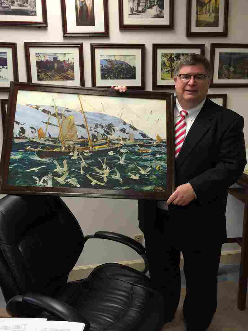 The GSA's Brian Miller holds Andrew Winter's Gulls at Monhegan (click here for a closer look). The painting will be sent to the U.S. Embassy in Croatia as part of the State Department's Art in Embassies program.