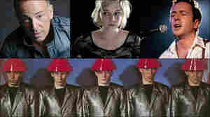 Clockwise from upper left: Bruce Springsteen, Joe Strummer during his time with The Pogues, Lydia Loveless, Devo