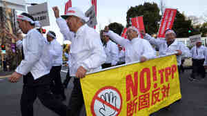Members of Japan's farmers association protest against the Trans-Pacific Partnership free-trade talks at a rally in Tokyo in March 2013.