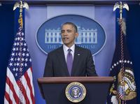 President Obama speaks about health care on Thursday. ACA enrollment has reached 8 million, he said, and it's