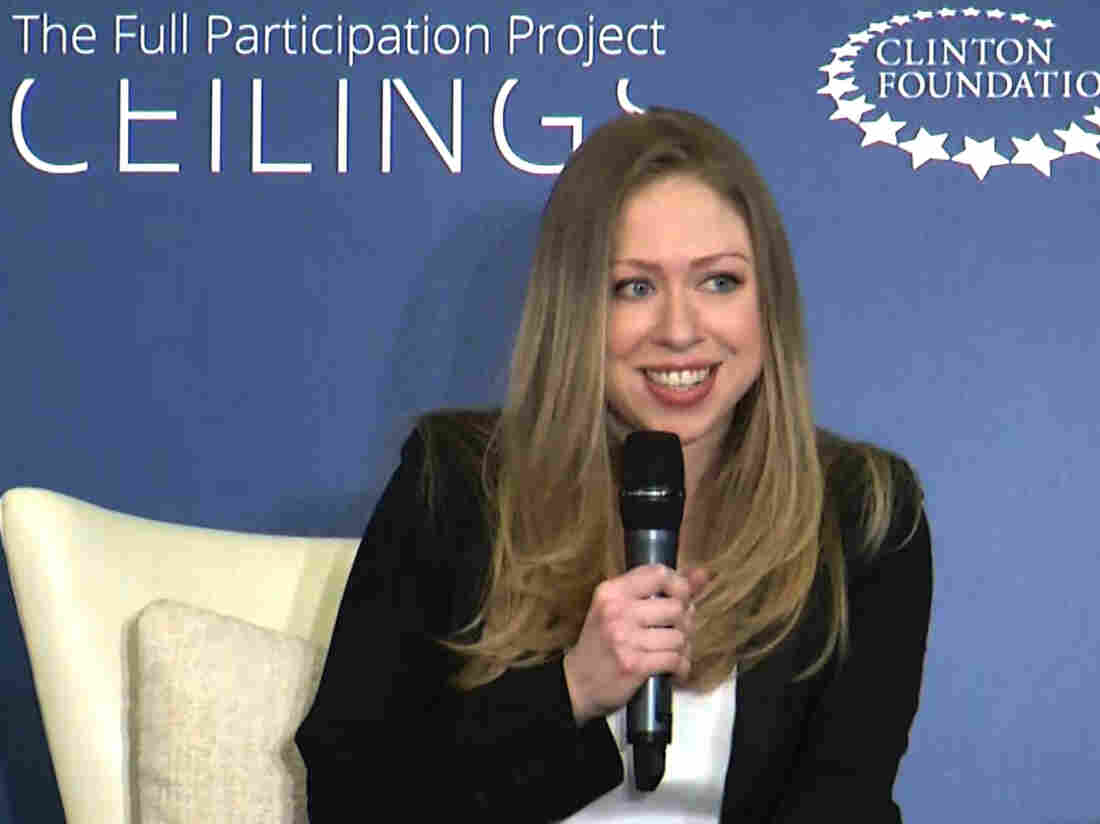 """Chelsea Clinton co-hosts """"Girls: A No Ceilings Conversation,"""" in New York on Thursday. Clinton chose the venue to announce that she and her husband are expecting their first child."""