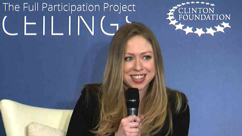 "Chelsea Clinton co-hosting ""Girls: A No Ceilings Conversation,"" in New York, on Thursday. Clinton chose the venue to announce that she and her husband are  expecting their first child."
