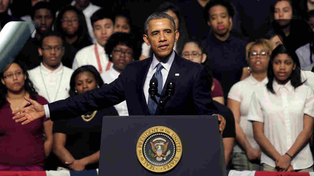 President Obama speaks during an April 7 visit to Bladensburg High School in Bladensburg, Md. It was his fourth visit to Prince George's County in as many months.