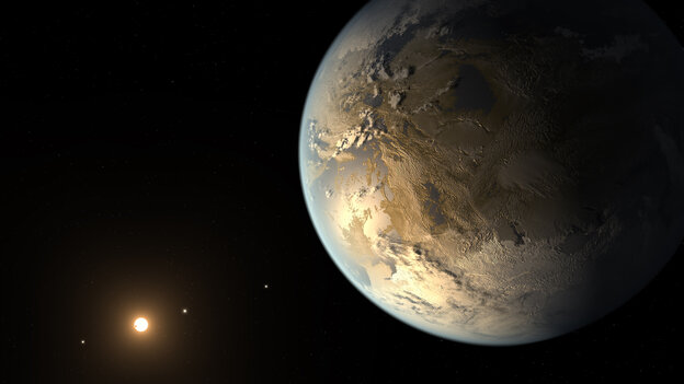An artist's rendering of Kepler-186f, the first validated Earth-size planet to orbit in
