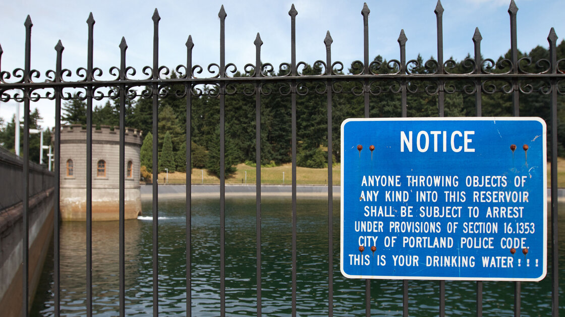 There are signs around the reservoirs in Portlands Mount Tabor Park that warn against putting anything in the water. They apparently didnt dissuade one young man from urinating into the citys drinking supply this week.