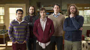 Kumail Nanjiani (from left), Martin Starr, Thomas Middleditch, Zach Woods and T.J. Miller star in Silicon Valley, Mike Judge's new sitcom about young programmers trying to hit it rich.