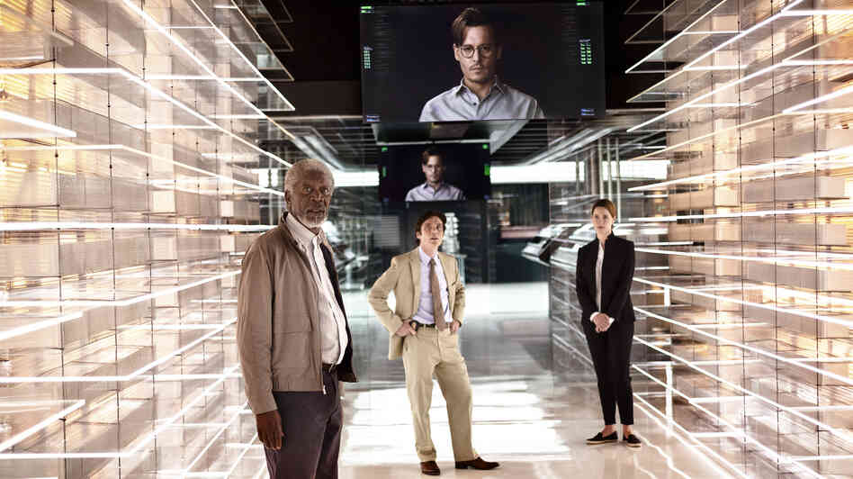Morgan Freeman, Cillian Murphy, Rebecca Hall, and the floating head of Johnny Depp in Transcendence.