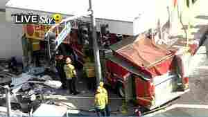 15 Injured After Firetrucks Collide, Smash Into LA Restaurant
