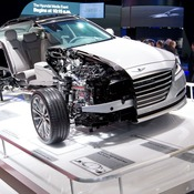 A GDI Hyundai Genesis is on display at the New York International Auto Show in New York, USA