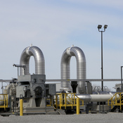 A TransCanada Keystone Pipeline pump station operates outside Steele City, Neb. The State Department is extending the review period for the pipeline, given ongoing litigation in Nebraska over the project.