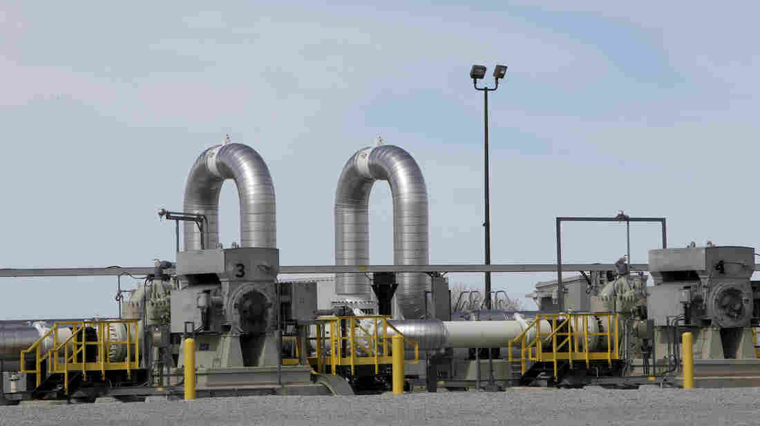 A TransCanada Keystone Pipeline pump station operates outside Steele City,