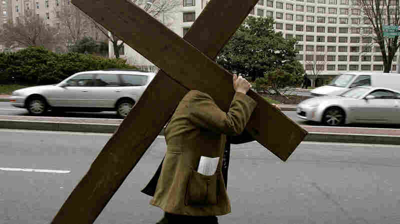 Above, a 2005 Good Friday ceremony on the streets of Washington, D.C.