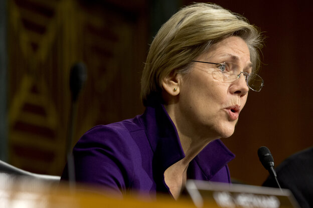 Sen. Elizabeth Warren, D-Mass., at a hearing of the Senate Banking, Housing and Urban Affairs Committee last year. Her book, A Fighting Chance, comes out next week.