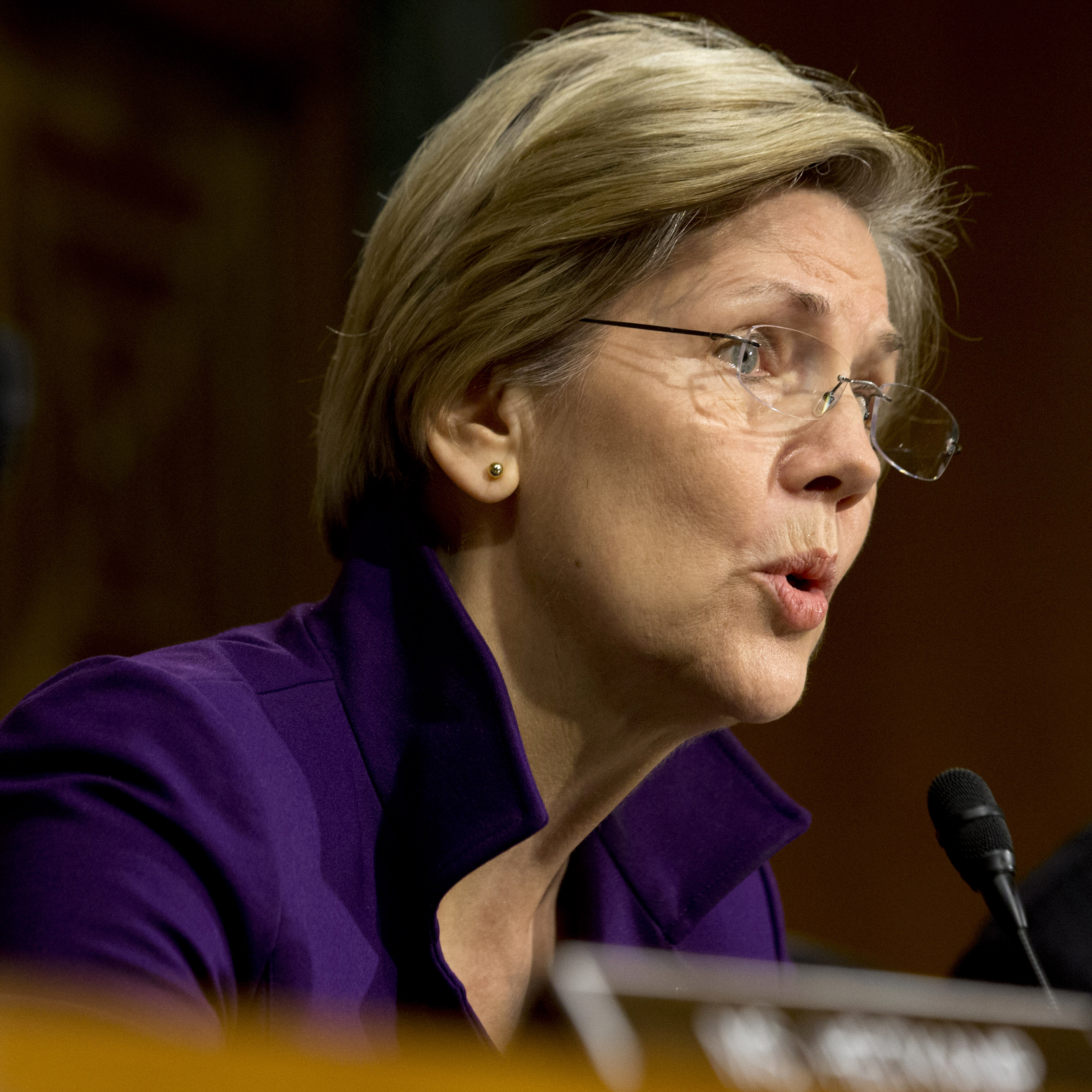 Sen. Elizabeth Warren, D-Mass., at a hearing of the Senate Banking, Housing and Urban Affairs committee last year. Her book, A Fighting Chance, is out next week.