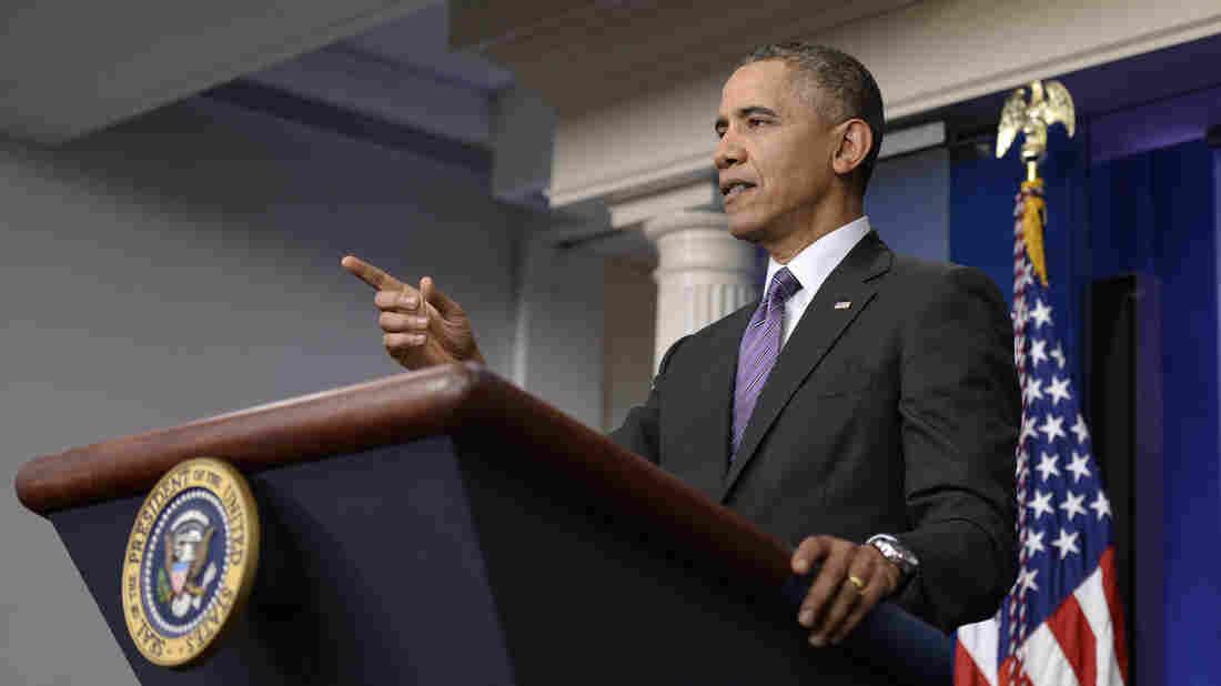President Obama speaks in the White House briefing room Thursday.
