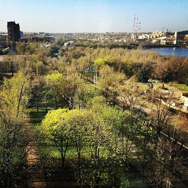 The view from Ari's Donetsk hotel room, which he posted to Instagram on his last morning in eastern Ukraine.
