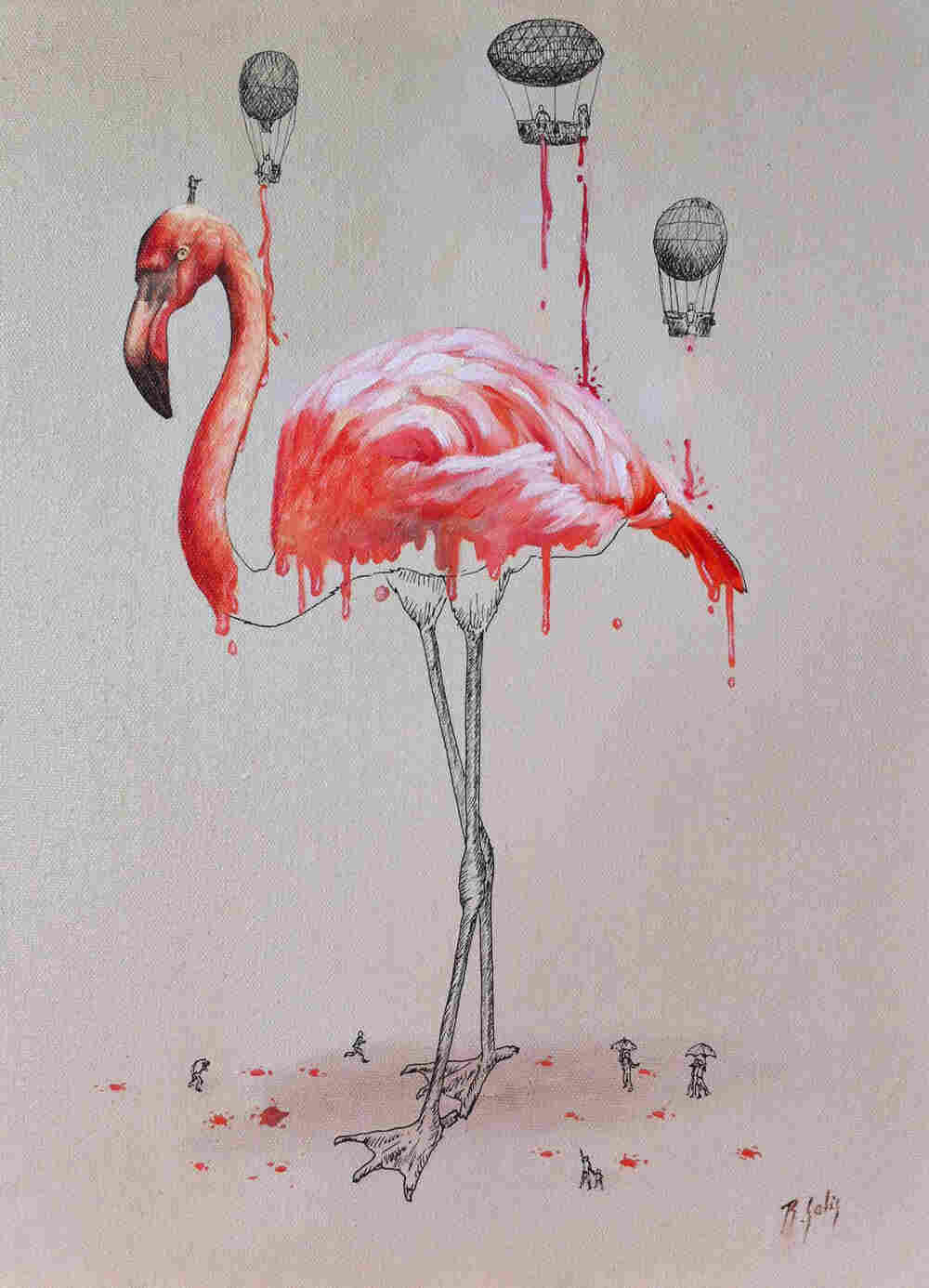 Teeny buckets of paint make a flamingo pink.