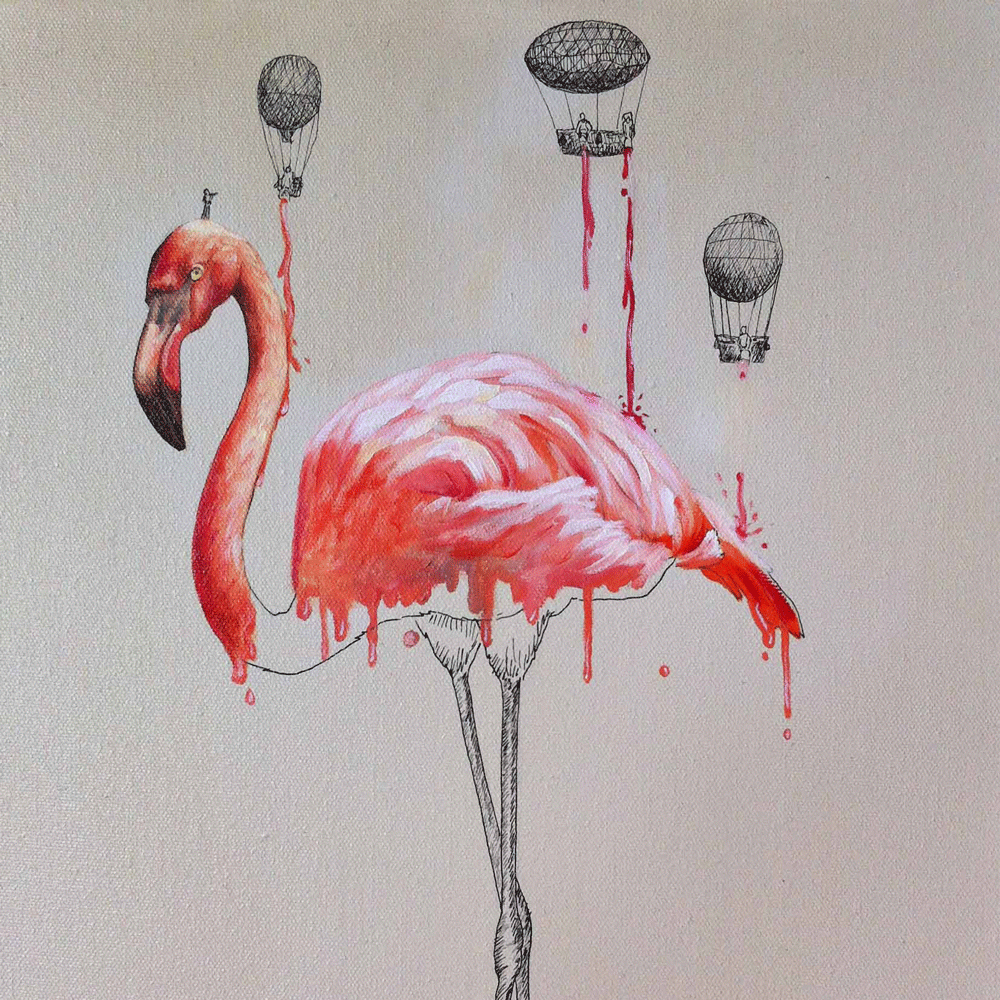 Teeny buckets of paint make a flamingo pink.