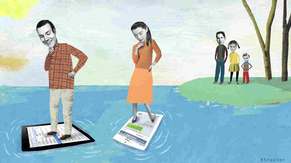 Parents on their phones. Katherine Streeter for NPR
