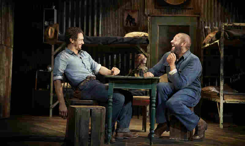 George (James Franco, left) and Lennie (Chris O'Dowd) are laborers and unlikely friends in Depression-era California in the new Broadway production of John Steinbeck's Of Mice and Men.