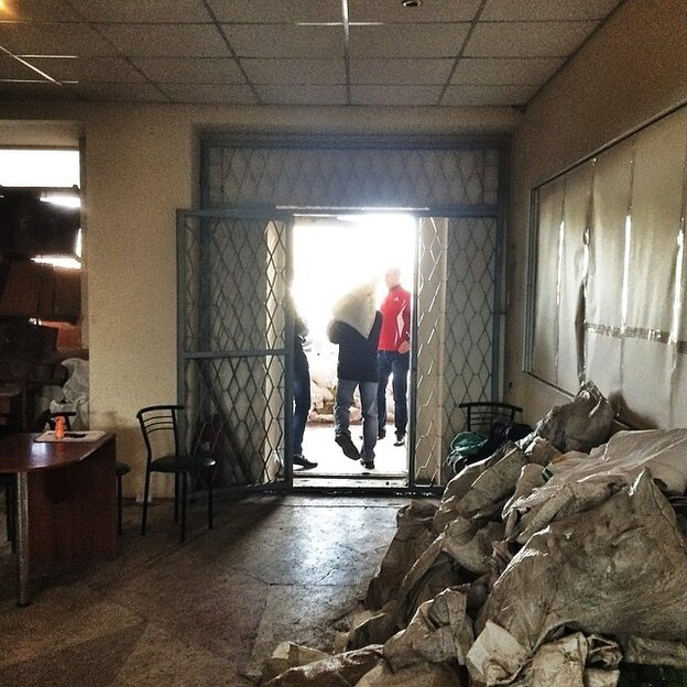 A view from inside the Horlivka police headquarters, which was seized by protesters.