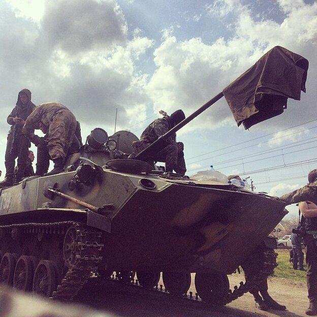 A tank in Kramatorsk.