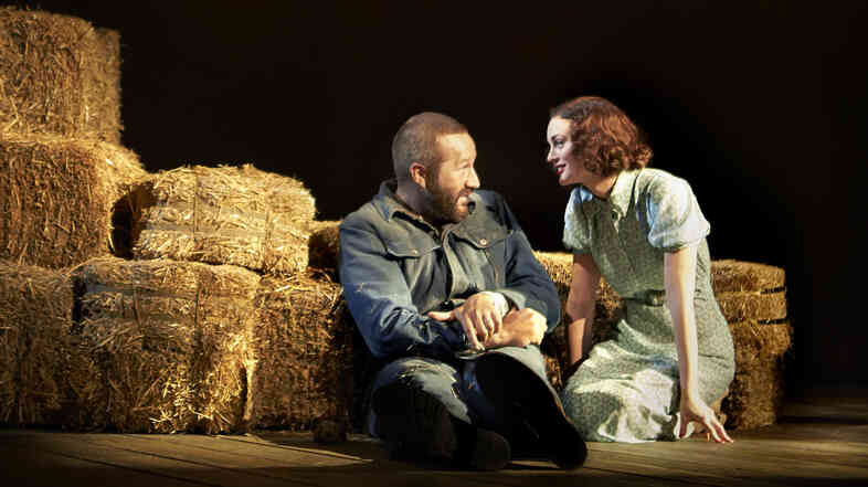 """Any time you're playing someone with a cognitive disability of any kind it's dangerous territory,"" says Chris O'Dowd, of playing Lennie, in John Steinbeck's Of Mice and Men. Leighton Meester plays the wife of Curley, the"
