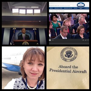 Snapshots from a NPR White House correspondent's life. That's Tamara Keith's Air Force 1 selfie (bottom left), and her asking the president a question at Thursday's press conference (upper right).