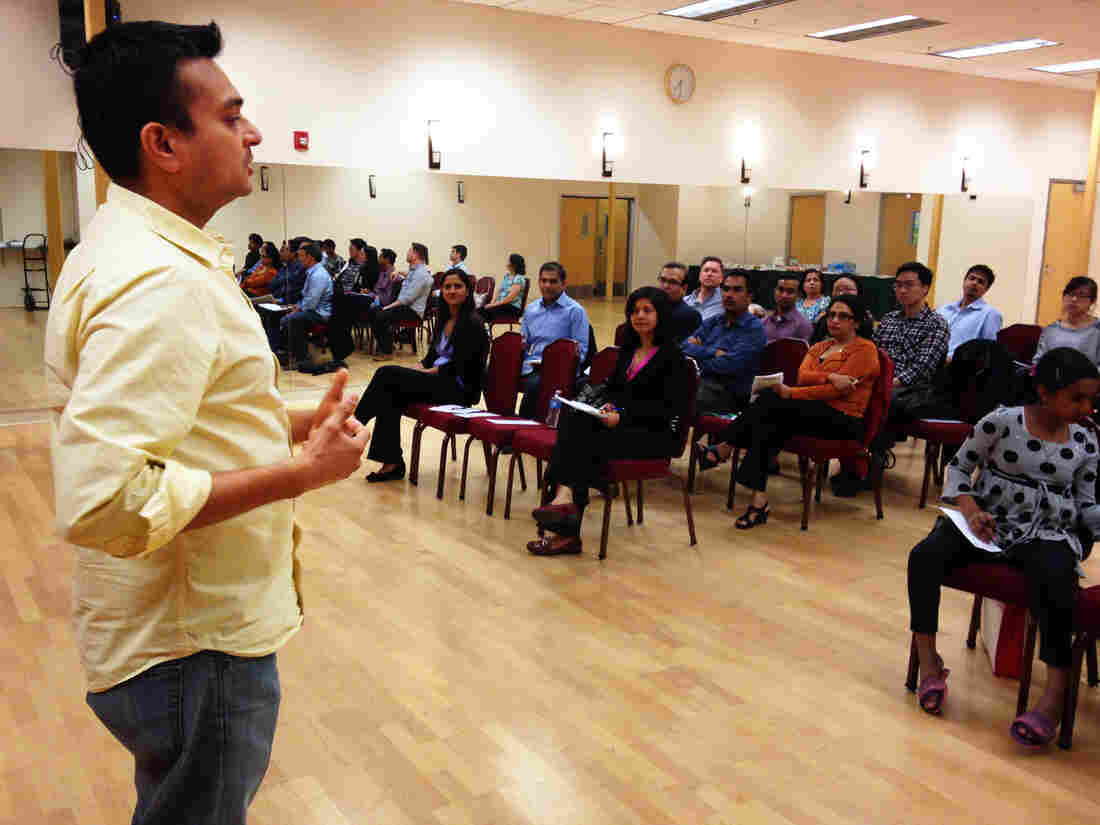 "Engineer Mit Shah gives a speech at a meeting of the ""ArtICCulators"" Toastmasters Club in Milpitas, Calif."