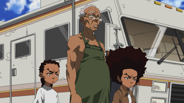 "Riley, Granddad and Huey in a scene from the ""Breaking Granddad"" episode of the"