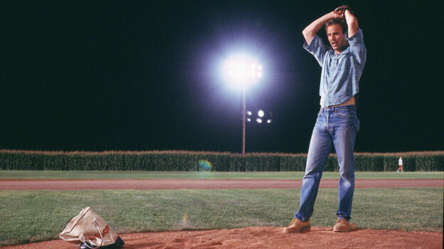 Kevin Costner warms up to pitch in the 1989 film Field Of Dreams.