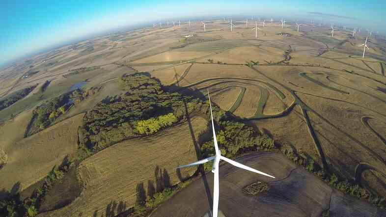 MidAmerican Energy's wind farm in Adair, Iowa. Facebook is working with MidAmerican to build a similar wind farm near Wellsburg, Iowa, where it will help power Facebook's planned data center.