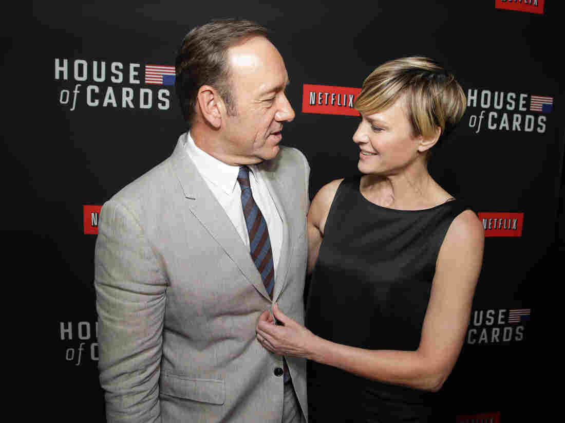 Kevin Spacey and House of Cards co-star Robin Wright at a Netflix special screening of the second season in Los Angeles in February. The original production is seen as a key factor in boosting subscriptions for the video streaming service.