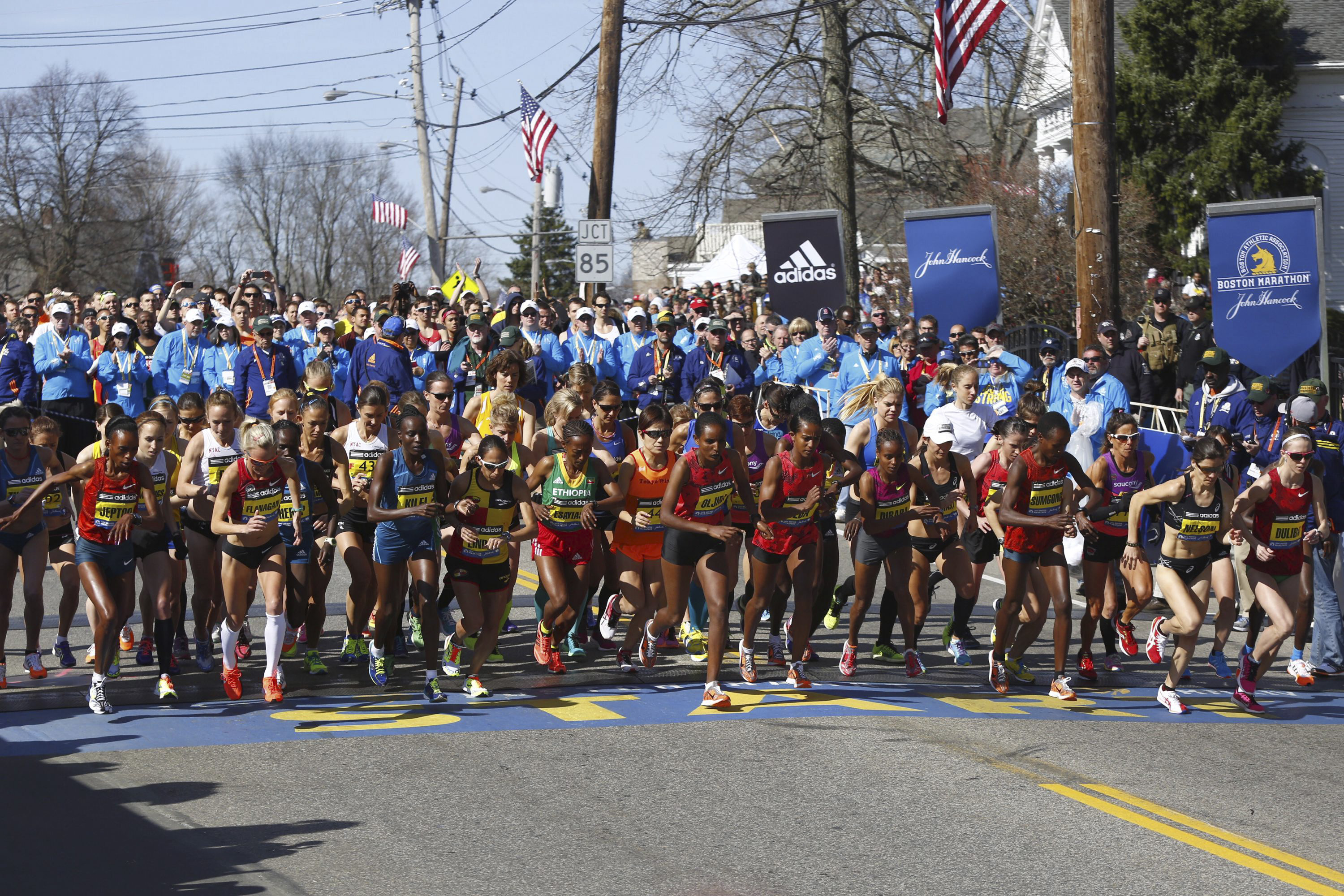 The elite women start the marathon. This is the second-largest field in the race's history.