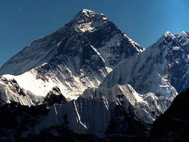 Mount Everest straddles the border of Nepal and the Tibetan region of China. This is a view of the Nepalese side.